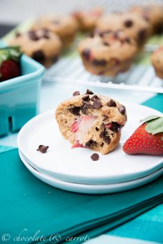 Whole Wheat Strawberry Chocolate Chip Muffins from Chocolate & Carrots