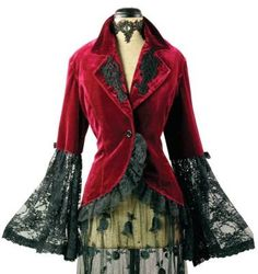 """""""Velvet Corset"""" red velvet jacket with black lace accents & ruffles from Victorian Trading Co. Steampunk Fashion, Victorian Fashion, Victorian Coat, Edwardian Style, Steampunk Corset, Vintage Outfits, Mode Mantel, Romantic Outfit, Velvet Jacket"""