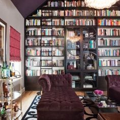 Gorgeous home library designed as the wife's escape, the first room that you see upon entrance to the home, creating a 'wow' factor!