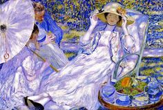 Frederick Frieseke (American artist, 1874-1939)  The Hour of Tea (1914)
