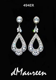 494ER White Gold CZ Bridal Earrings. Gorgeous by dMaureenVastine