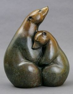 Ice Bears II by Georgia Gerber / Edition of x x I chose a bear as my totem and I love Polar Bears! This sculpture is great! Art Sculpture, Animal Sculptures, Soapstone Carving, Inuit Art, Ceramic Animals, Bear Art, Native Art, Beautiful Artwork, Oeuvre D'art