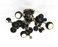 ATOMIC CEILING - BLACK & GOLD | LQ SHOP  Round, chic, modern, 70's style, lighting