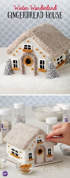 Bring the magic and beauty of winter inside with this whimsical Winter Wonderland Gingerbread House. Decked out with a variety of gold and silver sprinkles and edible accents, this beautiful gingerbread house makes a stunning centerpiece for your holiday table.
