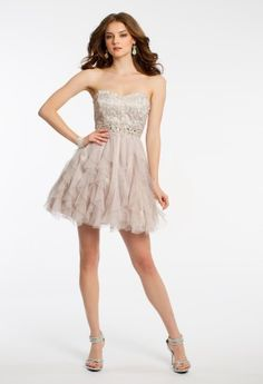 b9b993b935c Strapless dress with metallic embroidered empire waist
