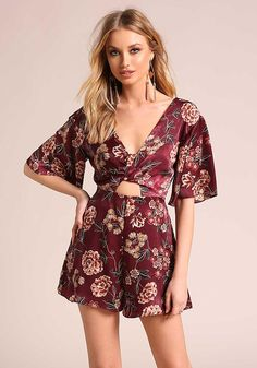 Plum Plunge Floral Cut Out Romper - New Junior Outfits, Cute Outfits, Boho Romper, Love Culture, Plunging Neckline, Passion For Fashion, Trendy Fashion, Super Cute, Girly