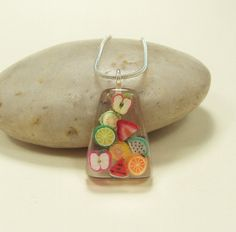 Fruit Salad Resin Pendant by JustKJewellery on Etsy, Uv Resin, Clear Resin, Resin Art, Resin Necklace, Resin Jewelry, Jewelry Crafts, Jewellery, Diy Resin Charms, Resin Crafts