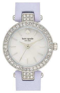 Women's kate spade new york 'tiny metro' crystal bezel leather strap watch