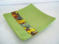 FUSED GLASS PLATE - Lime Green Fused Glass Plate with Hand Made Glass Insert on Etsy, $22.00