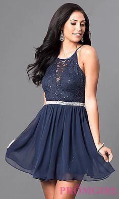 Short Chiffon Homecoming Dress with Lace Bodice at PromGirl.com
