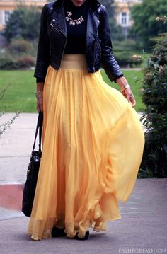 Motorcycle Jacket + Black Tank + Yellow Sheer Maxi Skirt