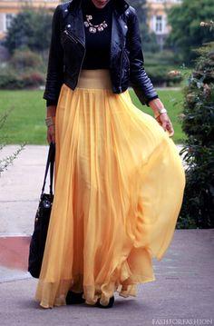 Motorcycle Jacket + Black Tank + Yellow Sheer Maxi Skirt