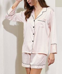 Crafted from satiny fabric with a hint of stretch, this long-sleeve button-up pajama set drapes you in the dreamy comfort you deserve.Size note: If you are between sizes and desire a looser fit, Pretty Bash recommends ordering the next size up. Please refer to the size chart for best fit. Button Up Pajamas, Two Pieces, Pajama Set, Lounge Wear, Long Sleeve Tops, Size Chart, Blush, Feminine, Nighty Night