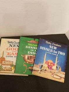 Vintage Set of 3 Betty Crocker Spral Bound Cookbooks.DINNER FOR 2 DINNER IN A DISH GOOD & EASY All are in good Vintage condition.   There may be some writing inside.  See photos for actual condition.   https://nemb.ly/p/HJ1y5i2Fe Happily published via Nembol