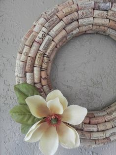 wine cork wreath.  cute idea, but the click-thru is to a recipe for crullers.