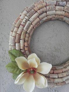 wine cork wreath.  cute idea, but the click-thru is to a recipe for crullers.