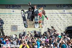Your 2013 Burton US Open men's halfpipe podium from L to R: Ayumu Hirano, Shaun White and Louie Vito.  PHOTO: Aaron Blatt   Shaun White and Kelly Clark win the Halfpipe at the Burton US Open at Vail Colorado   TransWorld SNOWboarding