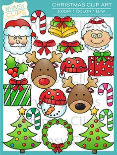 This Christmas clip art set contains 33 image files, which includes 19 color images and 14 black & white images in both png and jpg. All images are 300dpi for better scaling and printing.