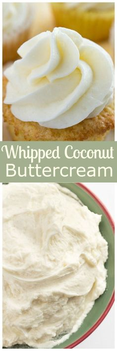 Thick, luscious whipped coconut buttercream frosting. Perfect on top of cakes, cupcakes, or alone on a spoon!   bakedbyanintrover...