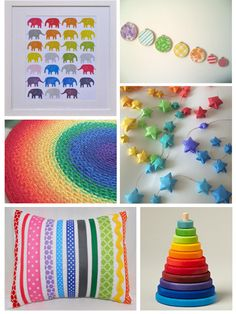 Rainbow Nursery Decor (nice gender neutral theme and colorful... love the patterns)