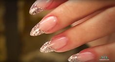What Christmas manicure to choose for a festive mood - My Nails Almond Nails French, French Tip Nails, Gold French Tip, Glitter Tip Nails, Bling Nails, Opal Nails, Nude Nails, Diy Nails, Nail Decorations