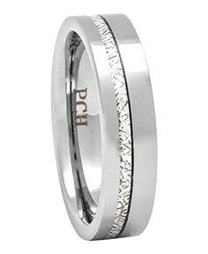 Meteorite Ring Tungsten Comfort Fit Mens Woemens Wedding Band Thin Line Cool Wedding Rings, Wedding Rings For Women, Wedding Ring Bands, Rings For Men, Tungsten Carbide Wedding Bands, Tungsten Carbide Rings, Men's Jewelry Rings, Meteorite Ring, Womens Wedding Bands