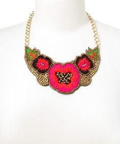 Another great find on #zulily! Gold & Pink Floral Thread-Woven Bib Necklace #zulilyfinds