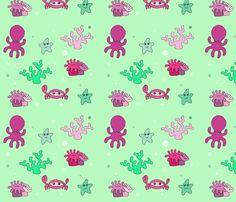 pink sea critters fabric by smokey_longlong on Spoonflower - custom fabric
