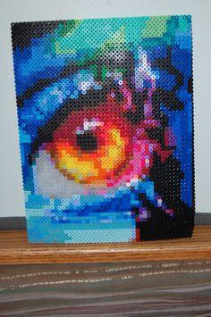 flame eye perler bead art made by me! - amanda wasend