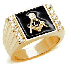 Gold Plated Freemason Ring / Masonic Ring with Black Stone
