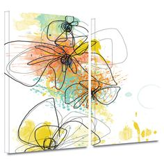 'Orange Botanica' by Jan Weiss 2 Piece Graphic Art Gallery-Wrapped on Canvas Set
