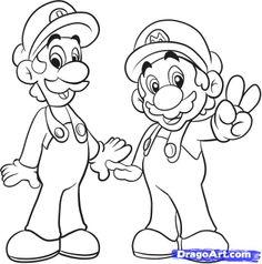 Mario Drawings   how to draw mario bros step 6