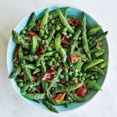 Asparagus and peas with warm tarragon vinaigrette. This was the best part of our Easter dinner.