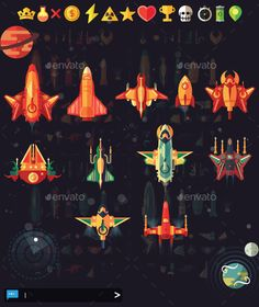Buy SpaceShip Shooter Pack by on GraphicRiver. Spaceship Shooter Pack This pack comes with Items, Ships, Parts and Environment to spice up your game. Spaceship Design, Spaceship Concept, 2d Game Art, Video Game Art, Space Invaders, Space Ship Games, Aliens, Rocket Design, Kindergarten Projects
