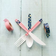 Dress up plastic silverware for any occasion using washi tape. It takes only seconds!