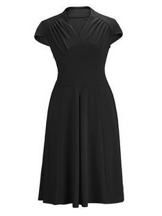 Black 1950s Ruched Party Swing Midi Dress
