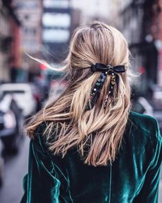 velvet jacket look with a bow in your hair