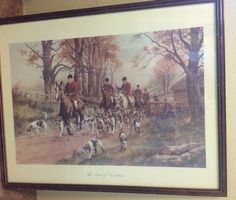 "Vtg Framed Print Pink of Condition English Hunting Dogs Horseback 23""x29"" London 