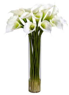 Calla Lily Silk Flowers in Water Vase in 3 colors | 27 inches
