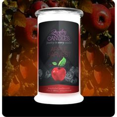 #jewelry #candles #giftideas Apple Harvest evokes the smell of crisp fall days. The smell of this jewelry candle brings to life everything there is to love about apples! Crisp, juicy, with just a hint of spice, you will think you've just used an apple press! Apple harvest candles with jewelry. This apple fragrance is infused with natural ceaderwood, cinnamon, nutmeg, clove, orange, and cedarwood essential oils. Full size 21oz jewelry candle - 100% all natural Soy candle