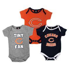 NFL Team Apparel Infant Boy Chicago Bears 3-Pack Bodysuit Set #VonMaur