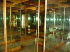 Highly unusual mirror maze, built on a square grid, rather than the more usual hexagonal. The effect is not as good but certainly easier to install.  Mirror Maze by Mr Munnings on Tour, via Flickr