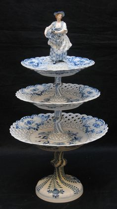 Meissen German Porcelain Blue Figural Onion Cake Stand - circa 1860-1880
