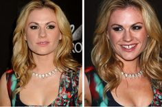 Some retouching looks sneakier and less obvious than what you see in magazines, but it's still retouching. It's safe to assume that almost all celebrity images are retouched, particularly for print publishing. // Anna Paquin images via www.hollywoodphotoshop.com