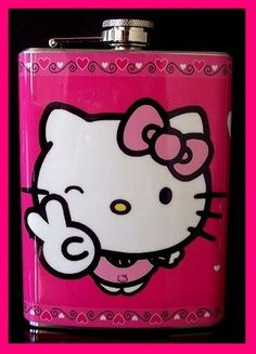 Hello Kitty Pink Hip Flask Stainless Steel 8oz Vinyl Hip Fits PU | eBay