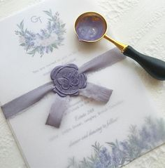 Purple butterfly wax seal for win 🦋 on top a lavender invitation inside a vellum wrap. Creation Bougie, Business Invitation, Invitations, Lavender Aesthetic, Arts And Crafts, Paper Crafts, Beach Wedding Inspiration, Envelope Art, Wax Seal Stamp