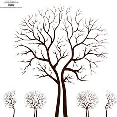 Printable Tree Pattern With Branches   simple leafless trees with branches reflecting the autumn season ...