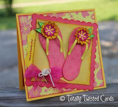 Super cute summer beach card - Flip flops freebie svg cut from Sherry K Designs, paper flowers from Cricut Flower Shoppe cartridge, My Creative Time tag die.  Love these colors!