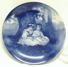 English Ca. 1930 Royal Doulton -Babes in the Woods- 8.7 in. Dia. Flow Blue Plate