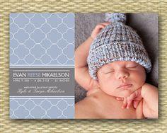Baby Birth Announcement - Modern Boy -